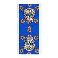 Sugar Skull BRIGHT BLUE Beach Towel