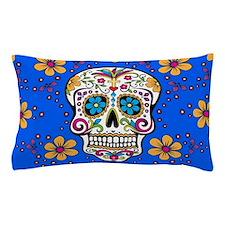 Sugar Skull BRIGHT BLUE Pillow Case