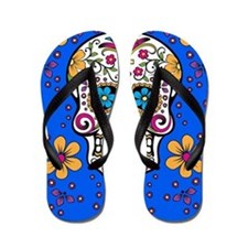 Sugar Skull BRIGHT BLUE Flip Flops