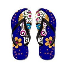 Sugar Skull ROYAL BLUE Flip Flops