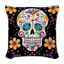 Dead Sugar Skull, Halloween Woven Throw Pillow