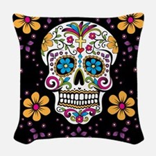 Dead Sugar Skull, Halloween Woven Throw Pillow