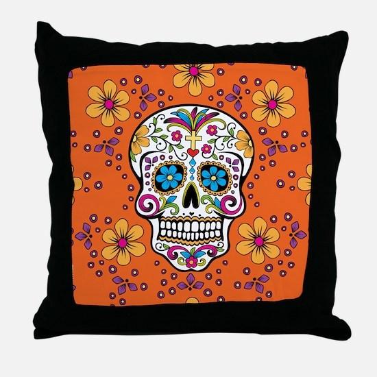 Dead Sugar Skull, Halloween Throw Pillow