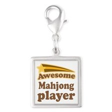 Mahjong Player Silver Square Charm