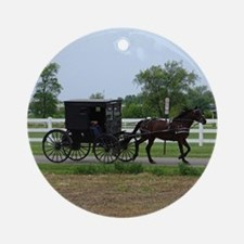Amish Buggy Ornament (Round)