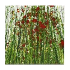 Red Wild Grass Tile Coaster
