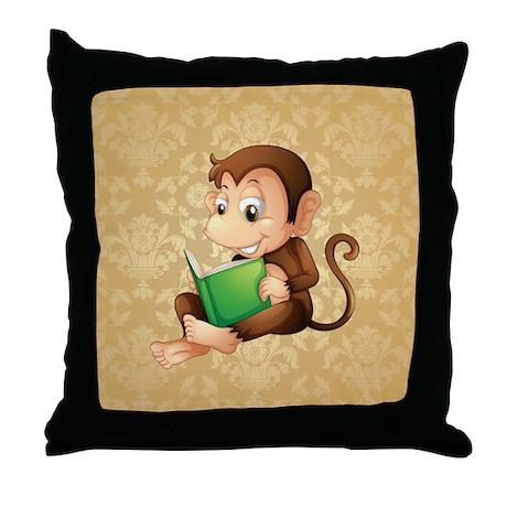 MONKEY READING Throw Pillow by ThePillowFactory