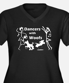 Dancers With Woofs Women's Plus Size V-Neck Dark T