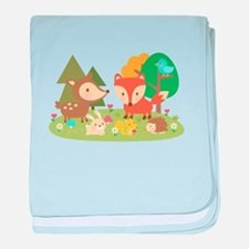 Cute Woodland Animal Theme For Kids baby blanket