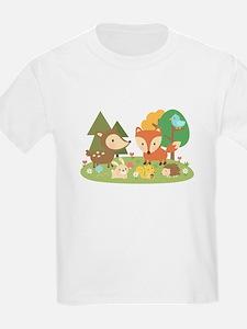 Cute Woodland Animal Theme For Kids T-Shirt
