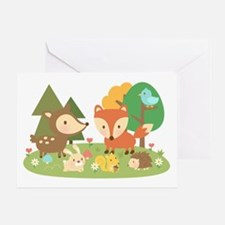 Cute Woodland Animal Theme For Kids Greeting Cards