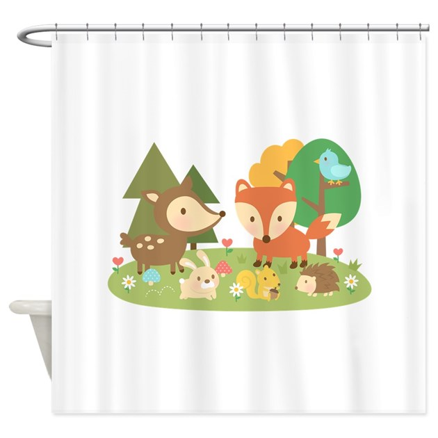 Cute Woodland Animal Theme For Kids Shower Curtain By