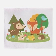 Cute Woodland Animal Theme For Kids Throw Blanket