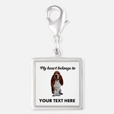 Personalized Basset Hound Silver Square Charm