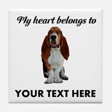 Personalized Basset Hound Tile Coaster