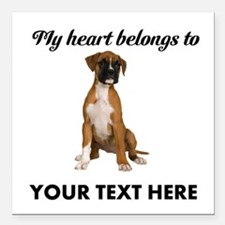 """Personalized Boxer Dog Square Car Magnet 3"""" x 3"""""""