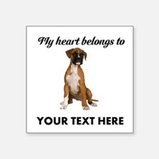 "Personalized Boxer Dog Square Sticker 3"" x 3"""