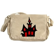 Black and Red Haunted House Messenger Bag
