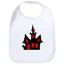Black and Red Haunted House Bib