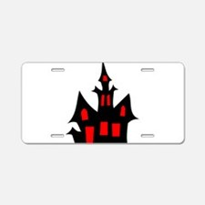Black and Red Haunted House Aluminum License Plate