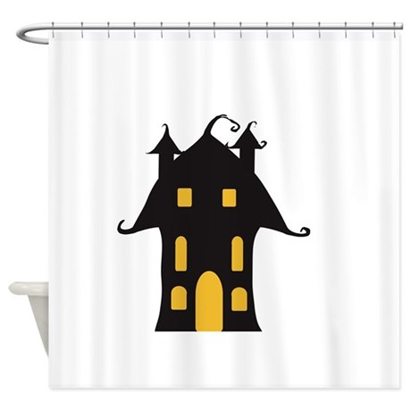 yellow and black haunted house shower curtain by admin cp129314141. Black Bedroom Furniture Sets. Home Design Ideas