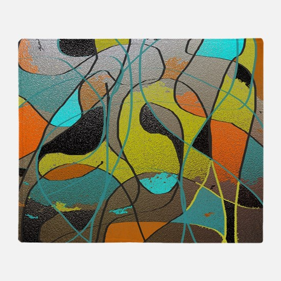Abstract Art in Orange, Turquoise, G Throw Blanket