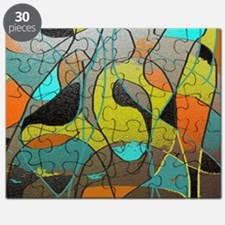 Abstract Art in Orange, Turquoise, Gold, an Puzzle