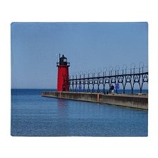 Cute South haven michigan lighthouse Throw Blanket