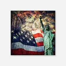 "Statue of Liberty &  Firewo Square Sticker 3"" x 3"""