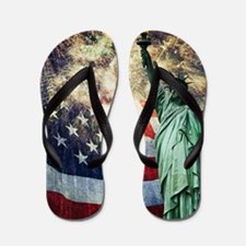 Statue of Liberty &  Fireworks Flip Flops