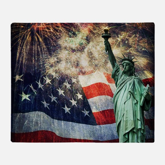 Statue of Liberty &  Fireworks Throw Blanket