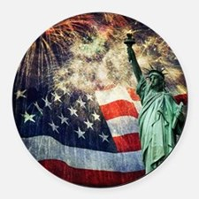Statue of Liberty &  Fireworks Round Car Magnet