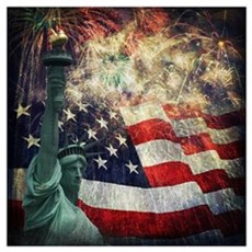 Statue of Liberty and  Fireworks Poster