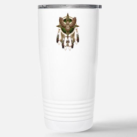 Barred Owl Mandala Stainless Steel Travel Mug