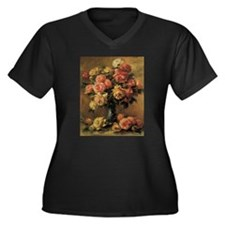 Roses in a Vase by Renoir Plus Size T-Shirt