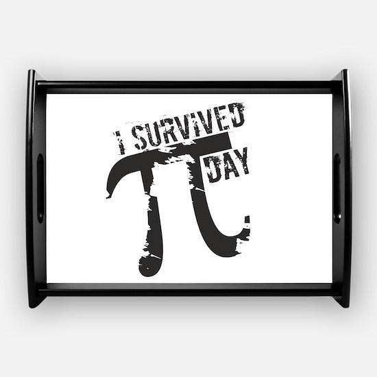 Funny I Survived Pi Coffee Tray