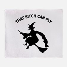 That Bitch Can Fly Throw Blanket