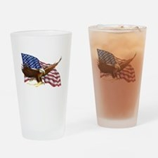 American Flag and Eagle Drinking Glass