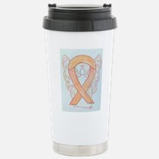 Peach Awareness Ribbon Angel Travel Mug