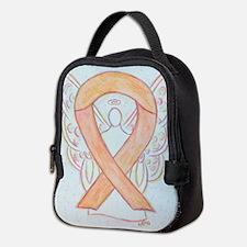 Peach Awareness Ribbon Angel Neoprene Lunch Bag