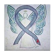 Diabetes Awareness Ribbon Angel Tile Coaster