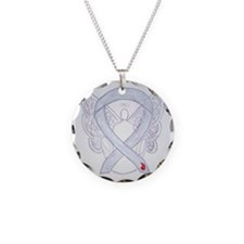 Diabetes Awareness Ribbon Angel Necklace