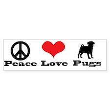 Peace Love Pugs Bumper Bumper Sticker