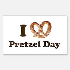 Pretzel Day Rectangle Decal