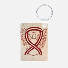 Burgundy and Ivory Awareness Ribbon Keychains