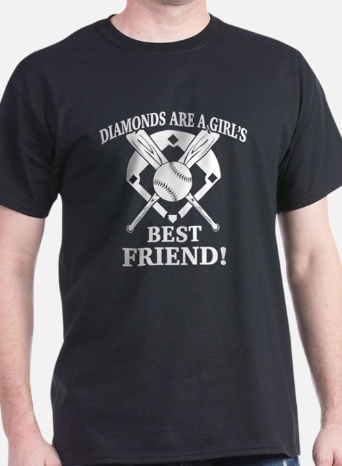 Cute Diamonds are a girls best friend baseball T-Shirt
