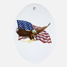 American Flag and Eagle Ornament (Oval)