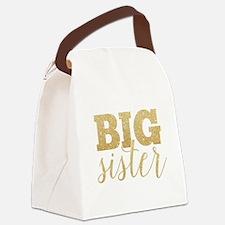 Glitter Big Sister Canvas Lunch Bag