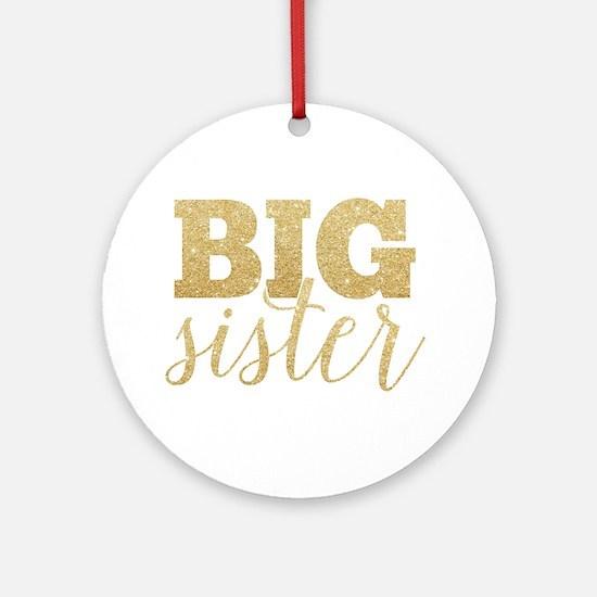 Glitter Big Sister Ornament (Round)