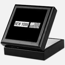 Black & White U.S. Flag: New York Keepsake Box